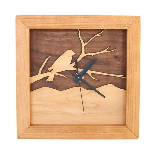 Bird on Branch Box Clock by Sabbath Day Woods