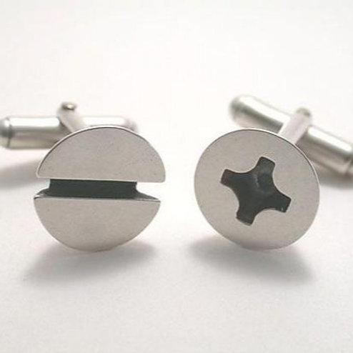 Silver Screw Cuff Links by Connie Verrusio