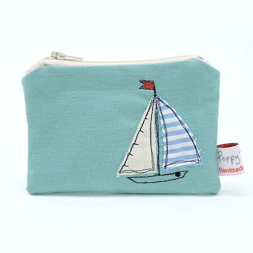 Embroidered Sailboat Small Useful Purse by Poppy Treffry