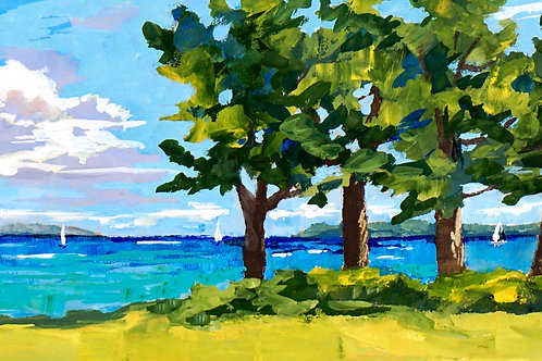 'Bay View' Framed Gouache by Ruth Kitchen