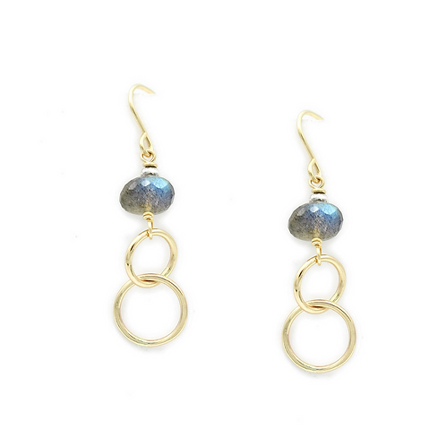 Gold Circles with Labradorite Earrings by J & I - LGX201E