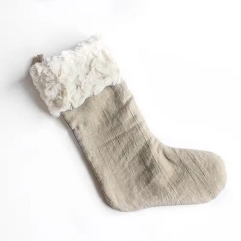 Natural Linen Christmas Stocking by Madly Wish
