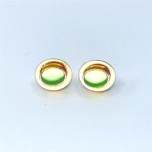 Lime Green Glass Post Earrings by Amy Faust