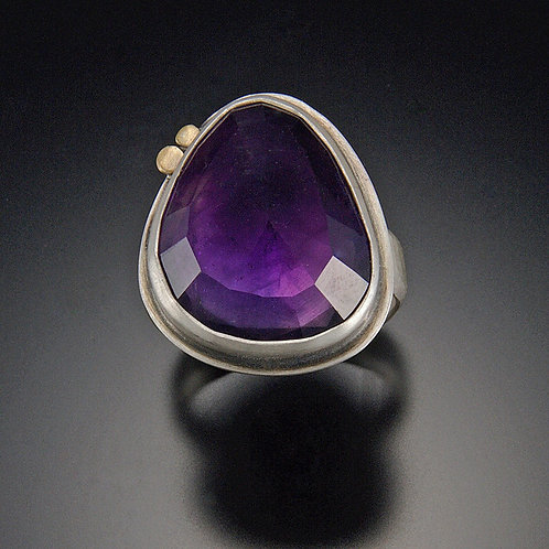 Amethyst Ring with Two Gold Dots by Ananda Khalsa