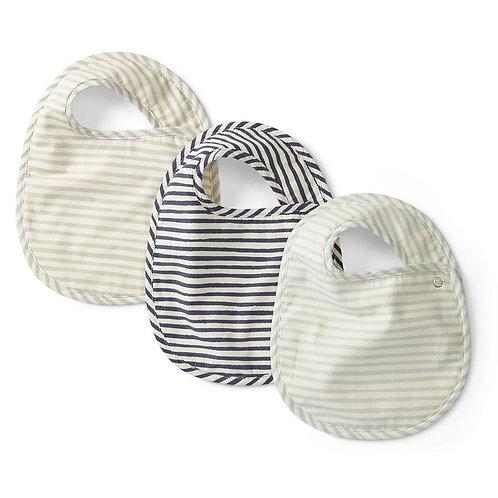 Sea Stripes Away Baby Bib Set of 3 by Pehr