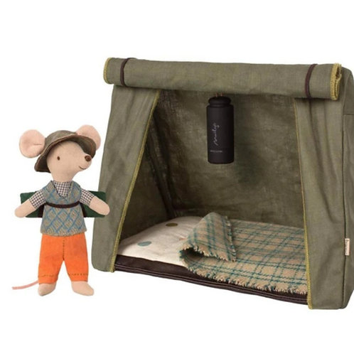 4pc Mouse Hiker, Sleeping  Bag, Blanket & Tent by Maileg