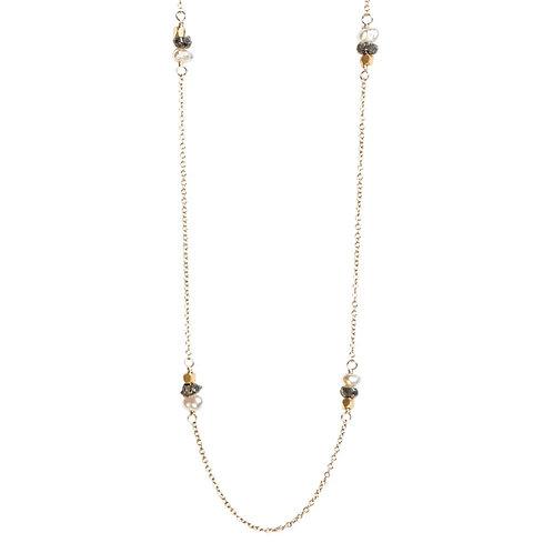 "18"" Raw Black Diamond & Pearl Necklace by Tracy Arrington"