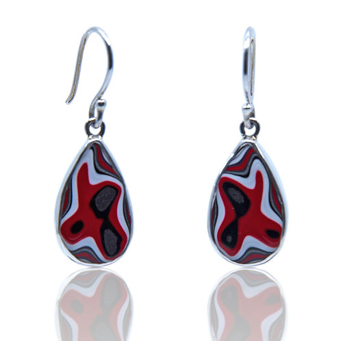 Teardrop Fordite Earrings by Starborn Creations