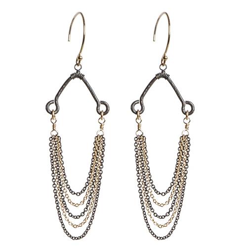 Two-tone Chain Earrings by Tracy Arrington
