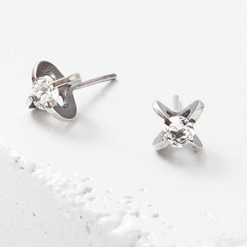 4mm Clutch White Topaz Earrings by Zuzko