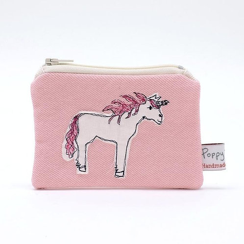 Embroidered Unicorn Small Useful Purse by Poppy Treffry