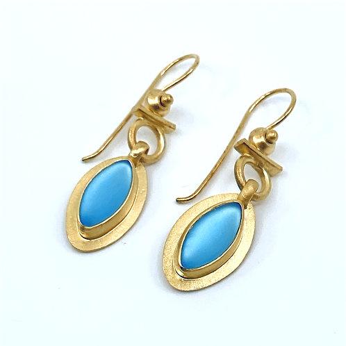 Aqua Leaf Dangle Earrings by Amy Faust