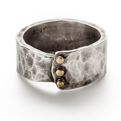 Hammered Sterling Overlap Band with 14kt Gold Rivets by J & I