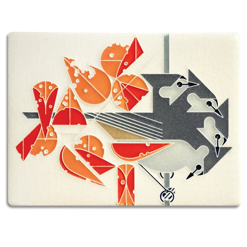 6x8 Titmouse Tidbit Tile by Charley Harper for Motawi