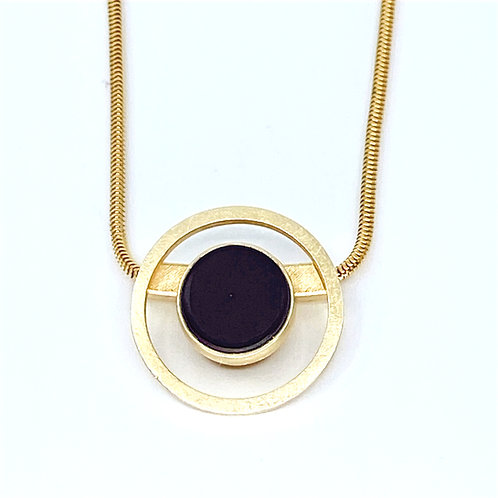 Black Glass Round Sliding Necklace by Amy Faust