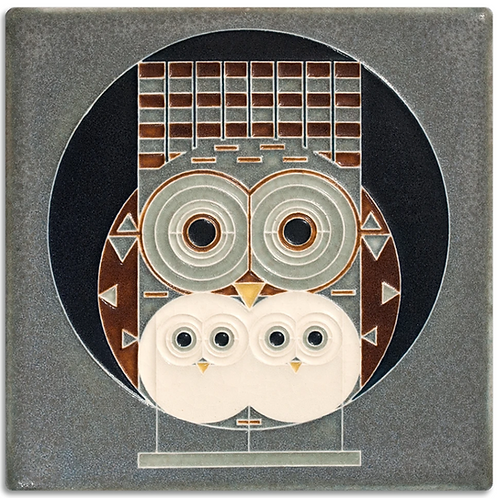6x6 Family Owlbum by Charley Harper for Motawi Tileworks