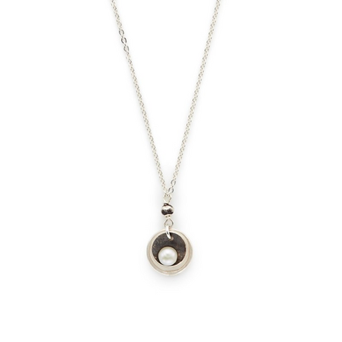 Oxidized Sterling Siler Cupped White Pearl Pendant by J & I -  DPX524N