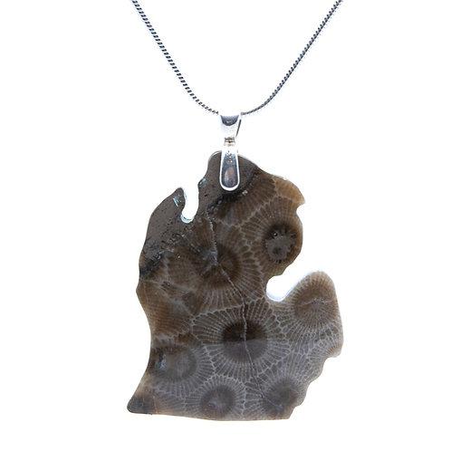 Large Michigan Petoskey Pendant on Silver Chain by John Studer