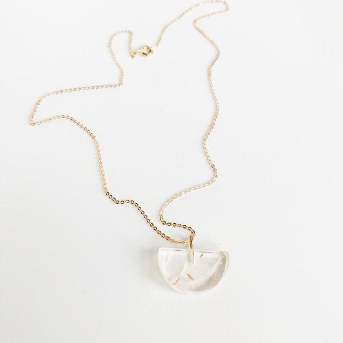 Eco-Resin Small Half-Moon Dandelion Pendant by Belart