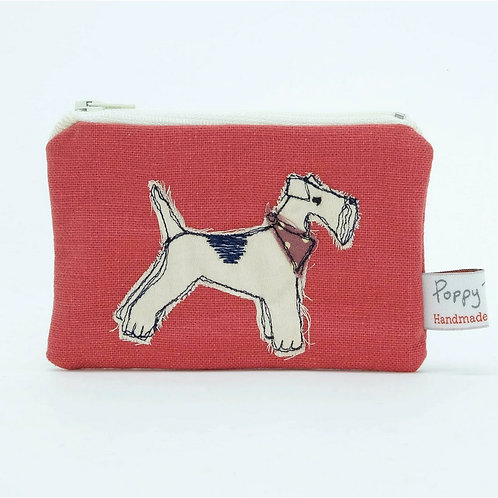 Embroidered Fox Terrier Small Useful Purse by Poppy Treffry