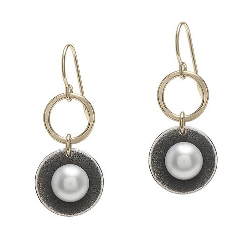 White Pearl Cup Earrings by J & I -  GPH5E