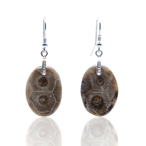 Oval Petoskey Stone Earrings with Silver Wires