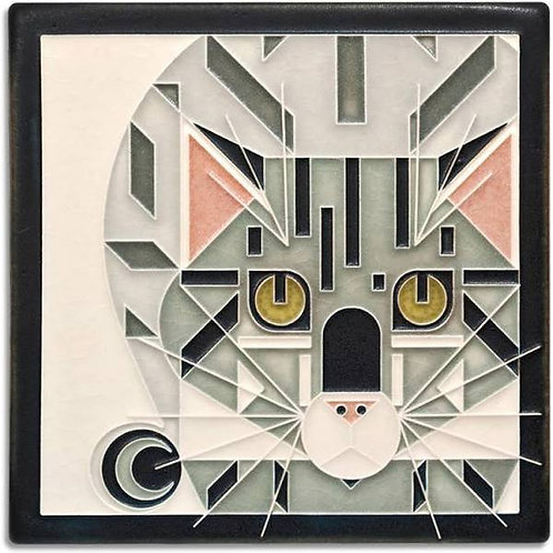 6x6 Catnip Tile by Charley Harper for Motawi Tileworks