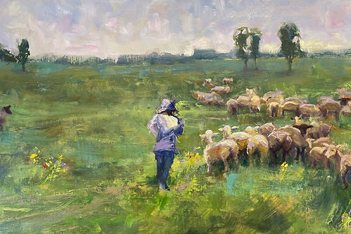 'Running with Sheep' by Lori Feldpausch