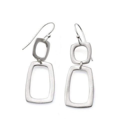 Stone Square & Rectangle Silver Earrings by Philippa Roberts