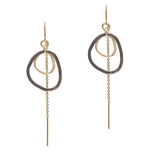 14kt Goldfill and Black Sterling Shape Threader Earrings by J & I
