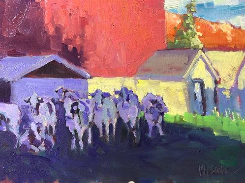 "'Autumn Morning Dairy' Framed 12"" x 16"" Oil on Canvas by Stephen Wysocki"