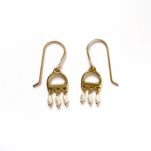 Small Rococo Pearl Earrings by Goldeluxe Jewelry