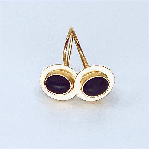 Black Glass Oval Wire Earrings by Amy Faust