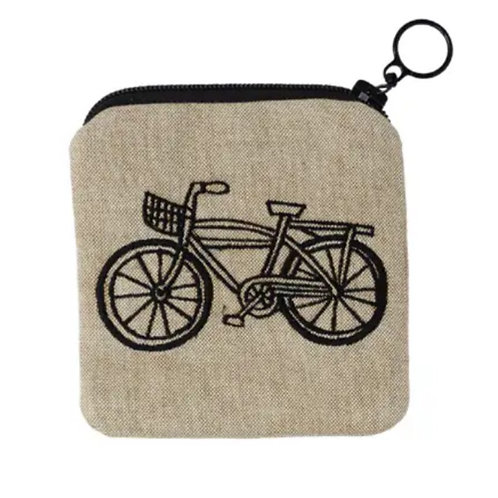 Embroidered Bike Zippee Coin Pouch by Ore Originals