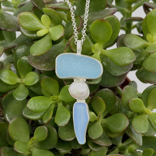 Aqua Periwinkle Triple Totem Beach Glass Necklace by Sonja Grondstra