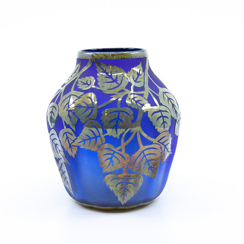 Large Carved Glass Vase with Vines by George Bochnig
