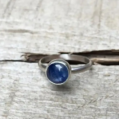 Minimalist Blue Kyanite Solitaire Sterling Ring by Gilded Bug