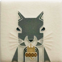 3x3 Squirrel Tile by Charley Harper for Motawi Tilesworks