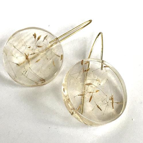 Eco-Resin Medium Moon Dandelion Earrings by Belart
