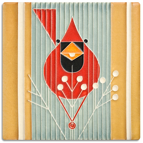 6x6 Autumn Edibles Tile by Charley Harper for Motawi Tileworks