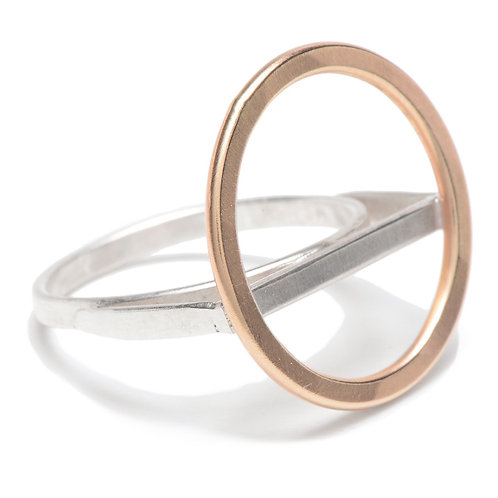 14k Goldfill Circle with Sterling Line Ring by J & I