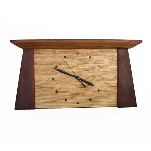Prairie Mantle Clock in Walnut and White Oak by Sabbath Day Woods