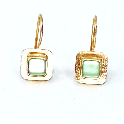 Lime Green Square Wire Earrings by Amy Faust