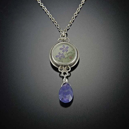 Tiny Violets Necklace with Tanzanite by Ananda Khalsa