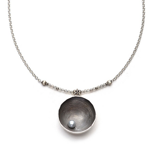 Large Silver Cup with Grey Pearl Necklace by J & I - DPX680N