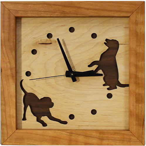 Dogs at Play Clock by Sabbath Day Woods