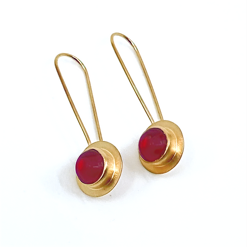 Cherry Red Glass Long Wire Earrings by Amy Faust