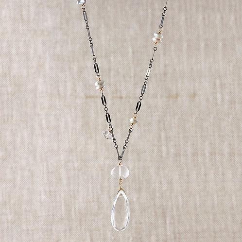 Crystal Quartz, Pearl, Herkimer Diamond Necklace by Alicia Van Fleteren