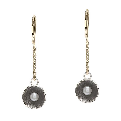 White Pearl Cup Dangle Chain Earrings by J & I -  GPH6E