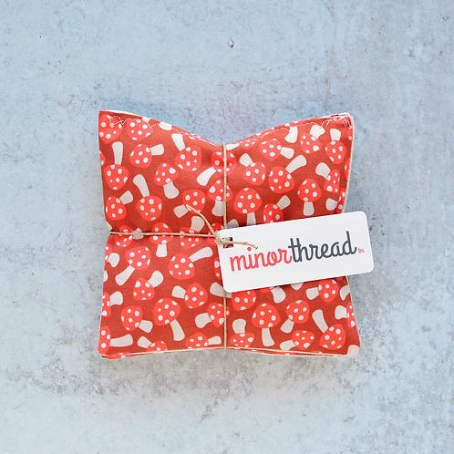 Organic Lavendar Sachets in Red Mushroom Pattern by Minor Thread